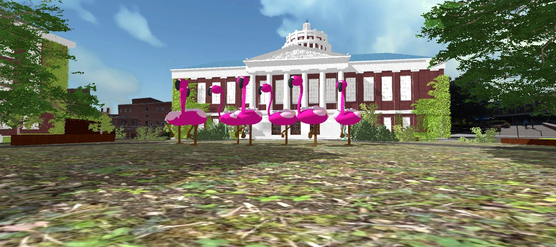 screenshot of a Unity project featuring a 3D-modeled Rush Rhees library in the background with a herd of flamingos in the foreground