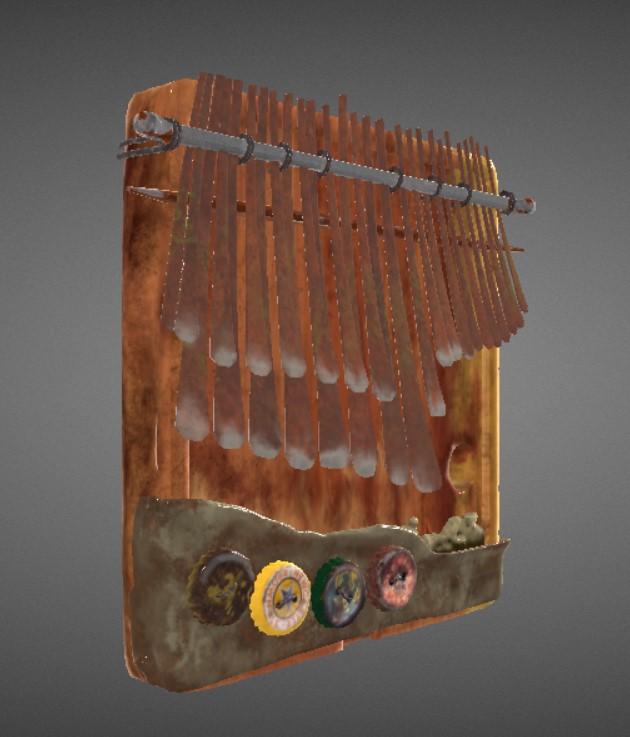 screenshot of a 3D modeled mbira on Resurrect3D
