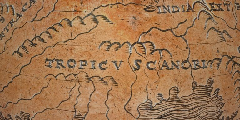 zoomed in globe displaying text that reads Tropic of cancer