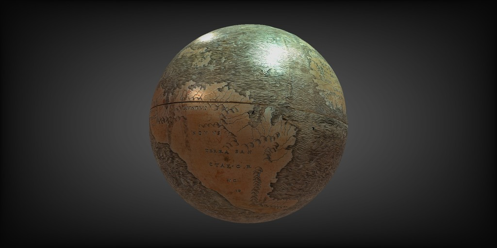 A rendering of the Hunt-Lenox globe in the DSL's 3D viewer.