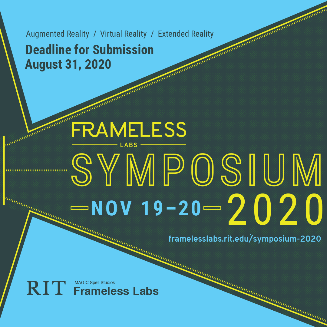 Decorative poster with blue background and dark grey and bright yellow geometric-shaped accents and dark grey, blue, and yellow font giving the date, time of event described here: http://framelesslabs.rit.edu/symposium-2020/