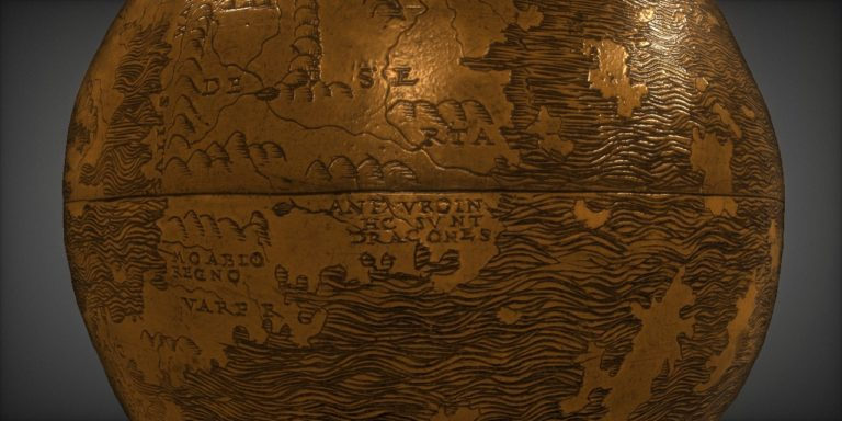 "Detailed view of the globe highlighting text that reads, ""Here are dragons."""