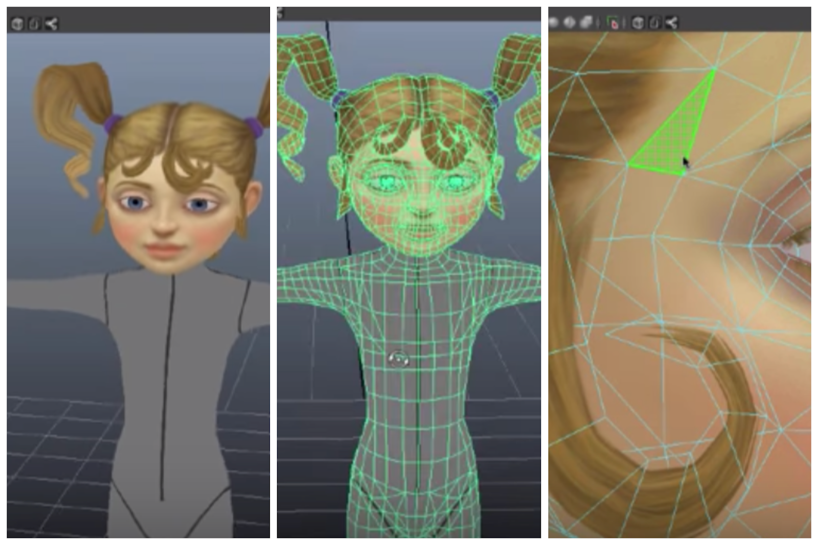 screenshot of a 3D model of a girl that zooms in to illustrate that 3D models are made up of polygons