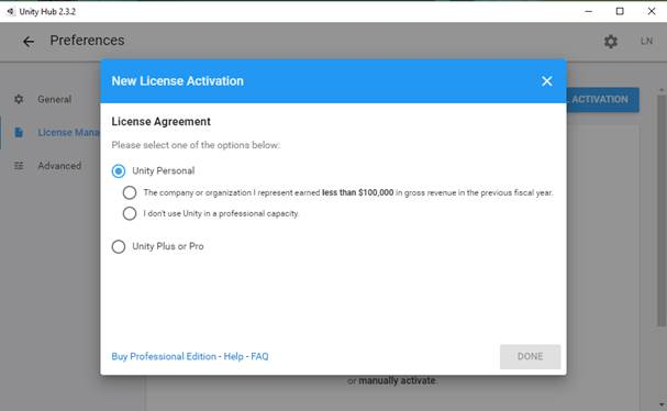 Screenshot of the Unity Hub with a new license activation window.