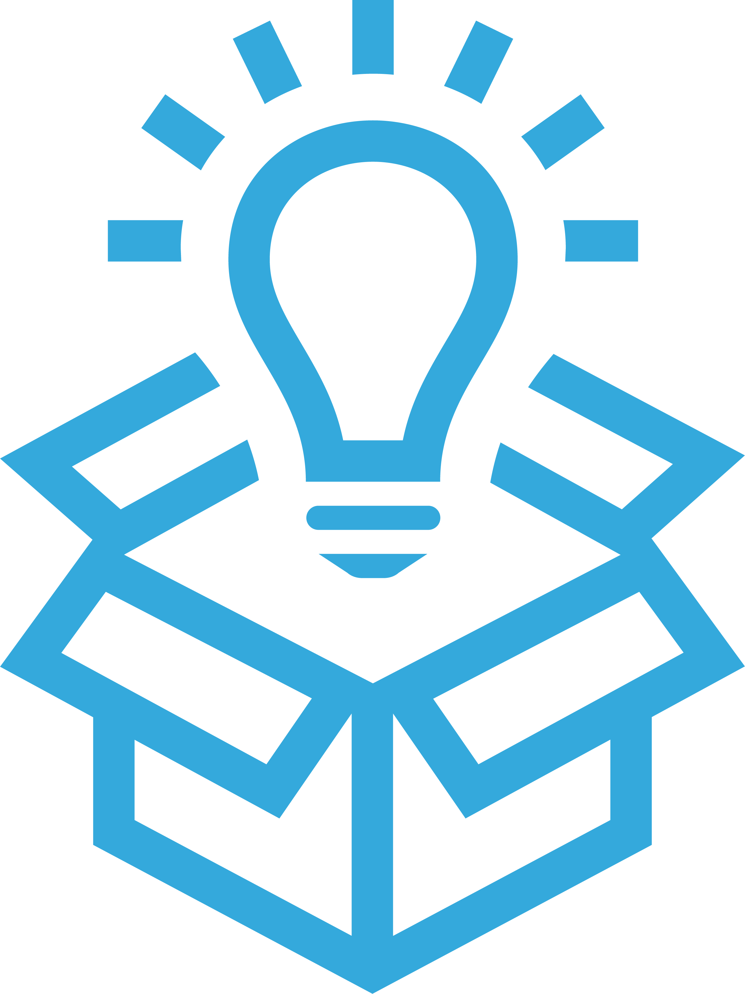 icon of a lightbulb hovering over an open box.