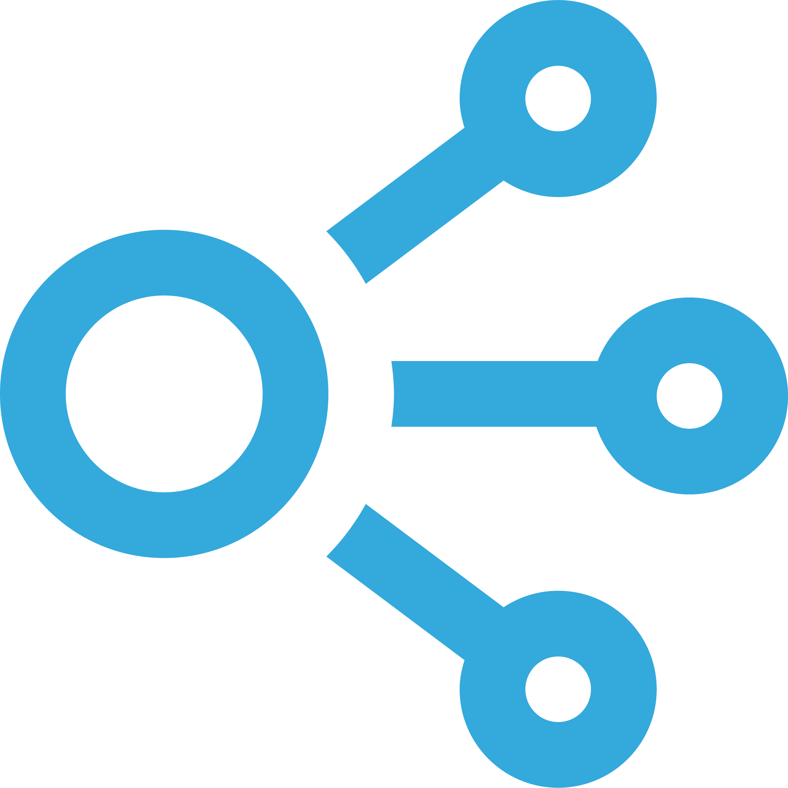 icon to represent connection. Shows a large circle connected to three smaller circles.