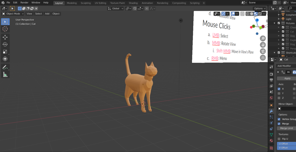 screenshot of Blender interface with a 3D modeled cat from the workshop test run.