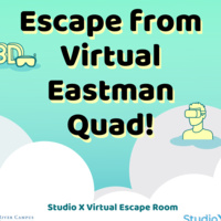 "decorative graphic with text that says, ""Escape from Virtual Eastman Quad!"""