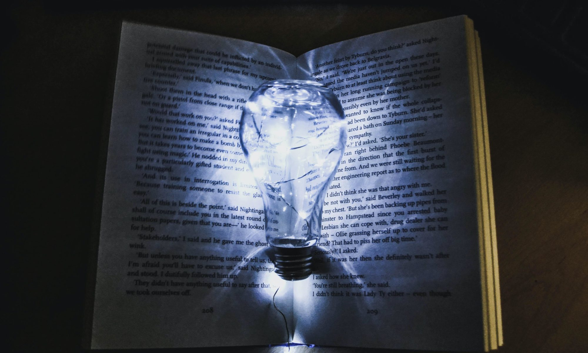 artsy book with a lightbulb in front of it.