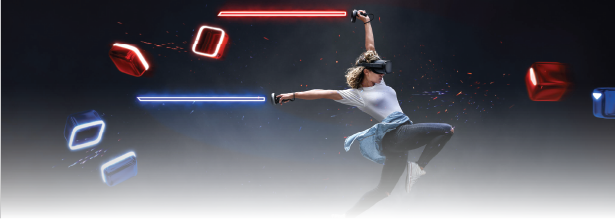 person playing Beat Saber in a virtual reality headset.