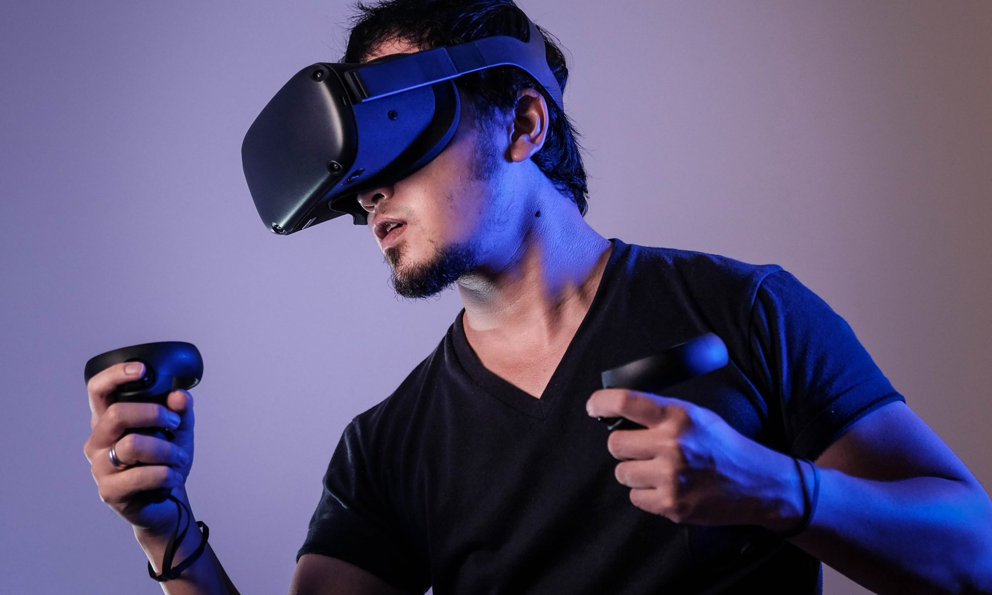 Person in a VR headset.