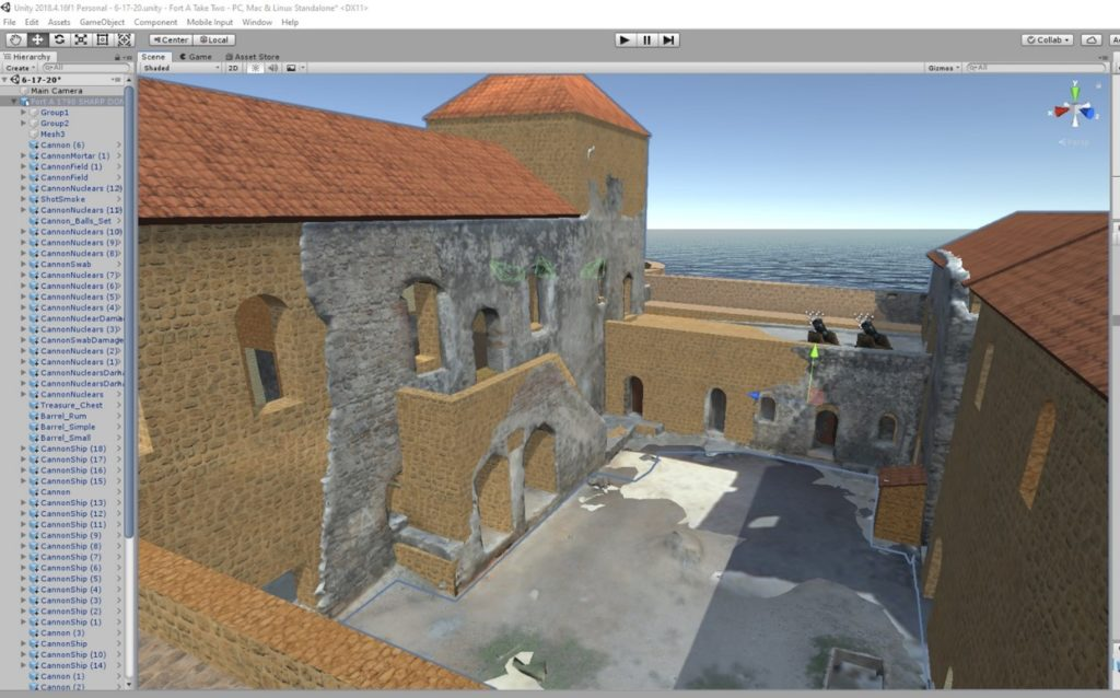 Unity software was used to superimpose a model of the 1790 reconstruction of Fort Amsterdam onto an image of the current ruins compiled with photogrammetry. (Courtesy of Michael Jarvis)